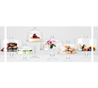 Maxwell & Williams Diamante 20Cm Glass Cake Stand With Dome Gift Boxed
