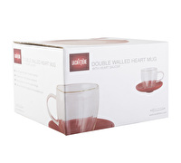 La Cafetiere Double Wall 200ml Heart Glass And Saucer