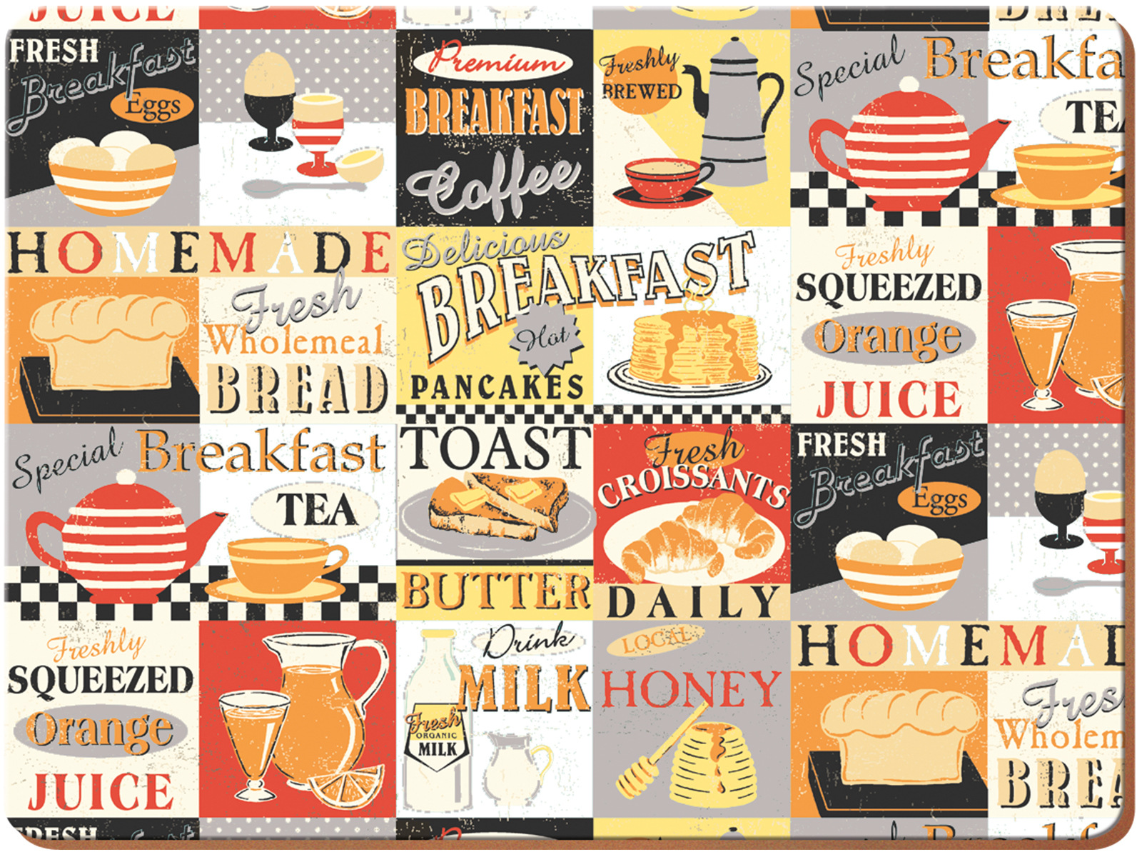 Everyday Home Retro Breakfast Pack Of 4 Placemats