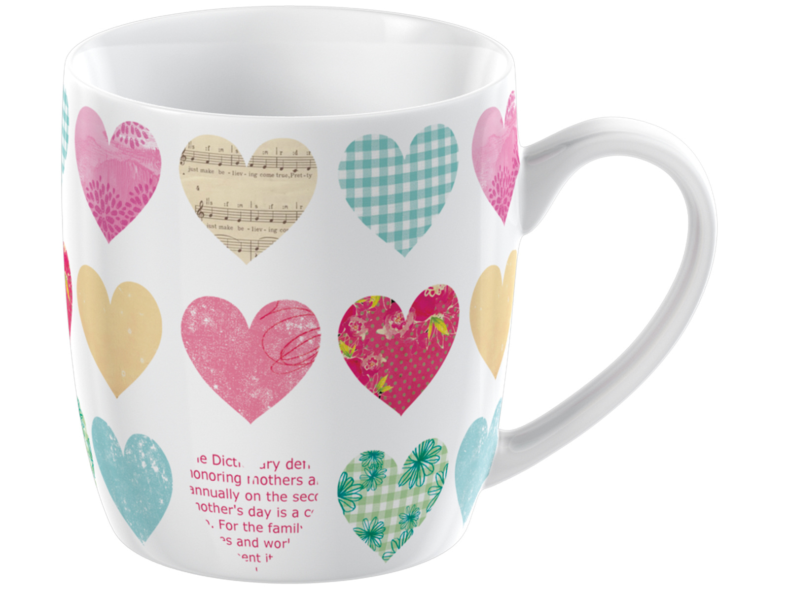 Everyday Home Patchwork Hearts Barrel Mug