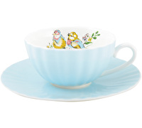Katie Alice Bird Song Tea Cup And Saucer Blue Ribbed