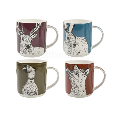 Creative Tops Into The Wild Set Of 4 Stacking Mugs
