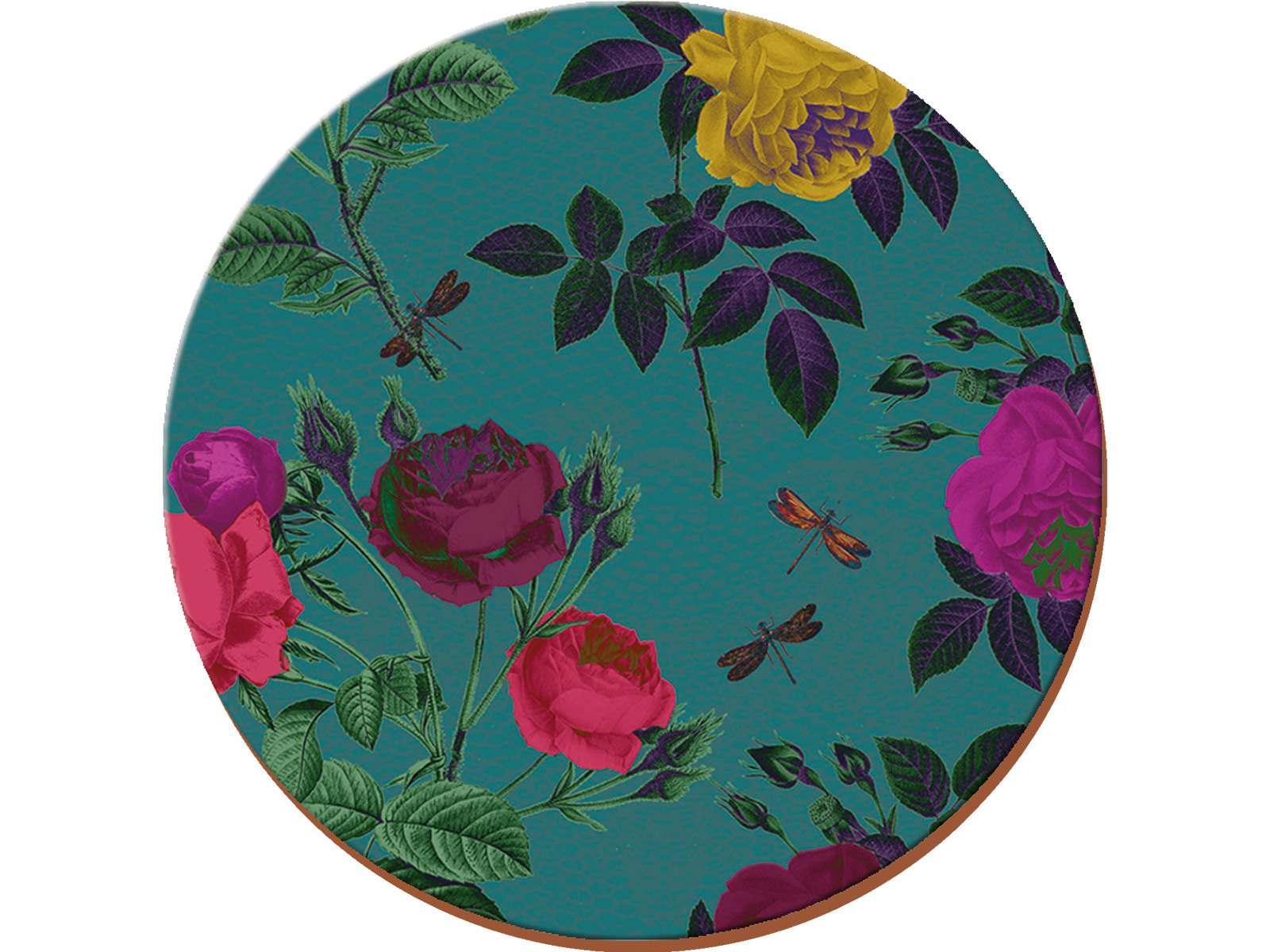 Creative Tops Teal Floral Pack Of 4 Round Premium Placemats