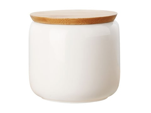 Maxwell & Williams White Basics 750Ml Canistr With Bamboo Lid Gift Boxed