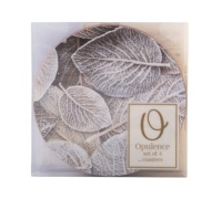 Creative Tops Frosted Leaves Pack Of 4 Round Premium Coasters