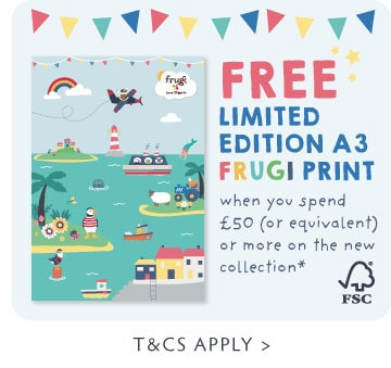 FREE Limited edition A3 Frugi print when you spend £50 (or equivalent) or more on the new collection