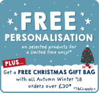 Free personalisation PLUS get a FREE Christmas gift bag on orders over £30