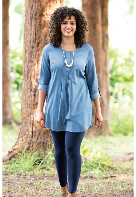 Pintuck Denim Tunic