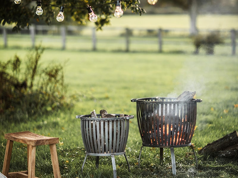Fire pits and festoon lighting in garden