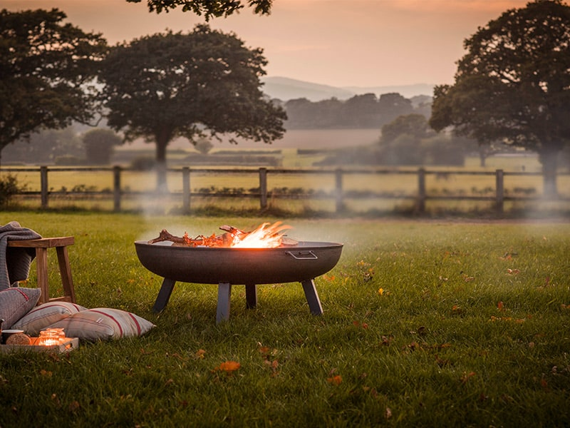 Firepit burning wood in a field surrounded by open fencing and trees