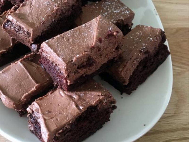Chocolate Brownies stacked on a plate