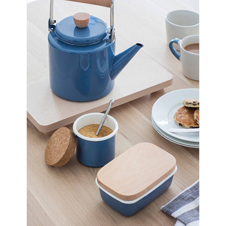 Enamel and Wood Butter Dish in Grey or Blue | Garden Trading