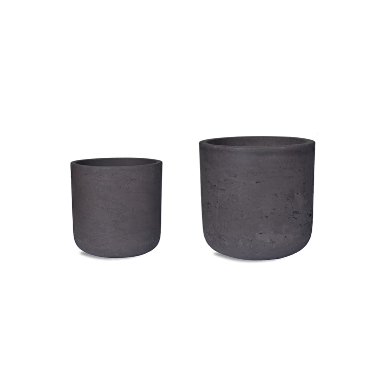 Cement Set of 2 Stratton Plant Pots in Cream or Brown | Garden Trading