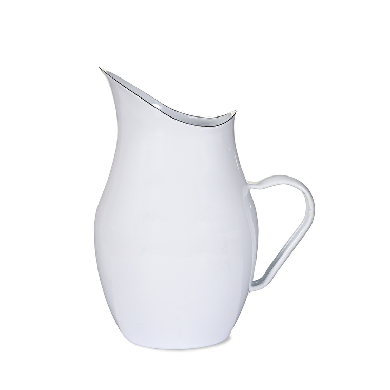 Enamel Water Pitcher in White or Green | Garden Trading