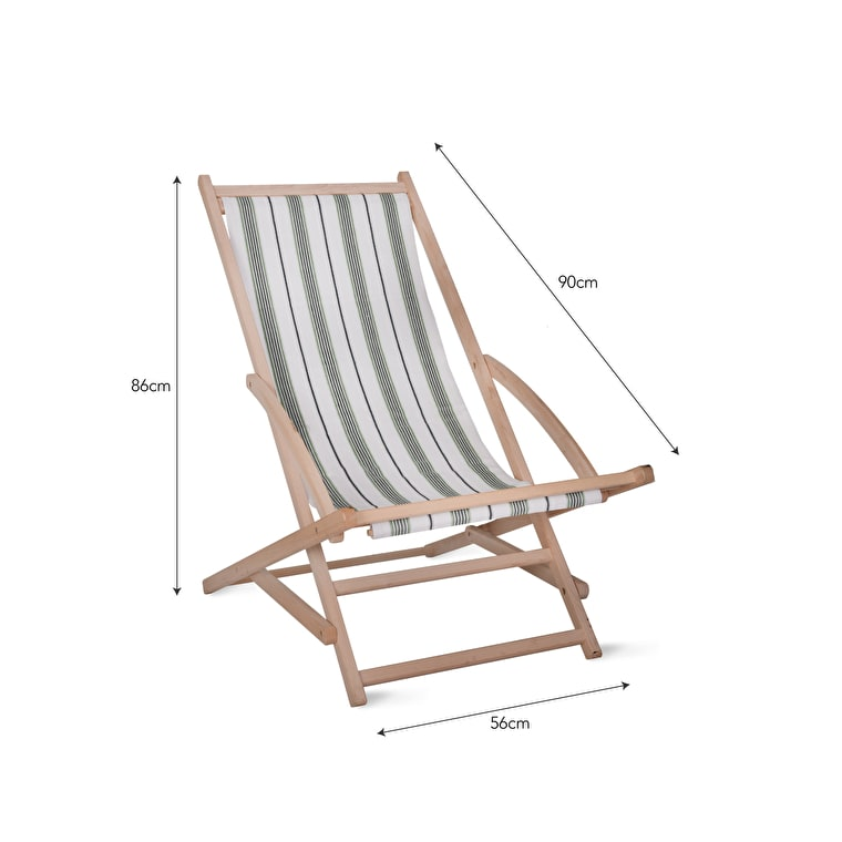 Wooden Rocking Deck Chair in Blue, Coral, Cream or Green Stripe | Garden Trading