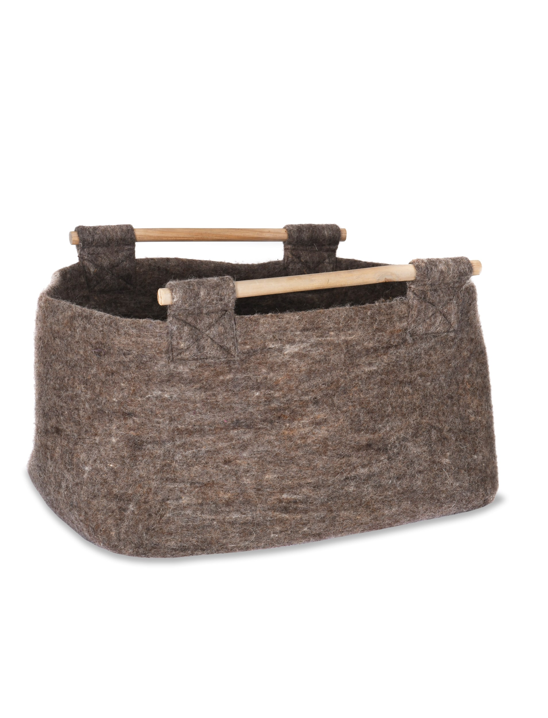 Fairtrade Felt Southwold Basket with Wooden Handle  | Garden Trading