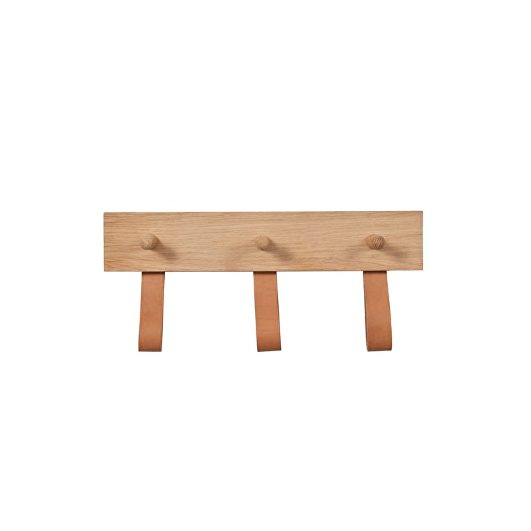 Oak and Leather Kelston 3 or 5 Peg Rail | Garden Trading