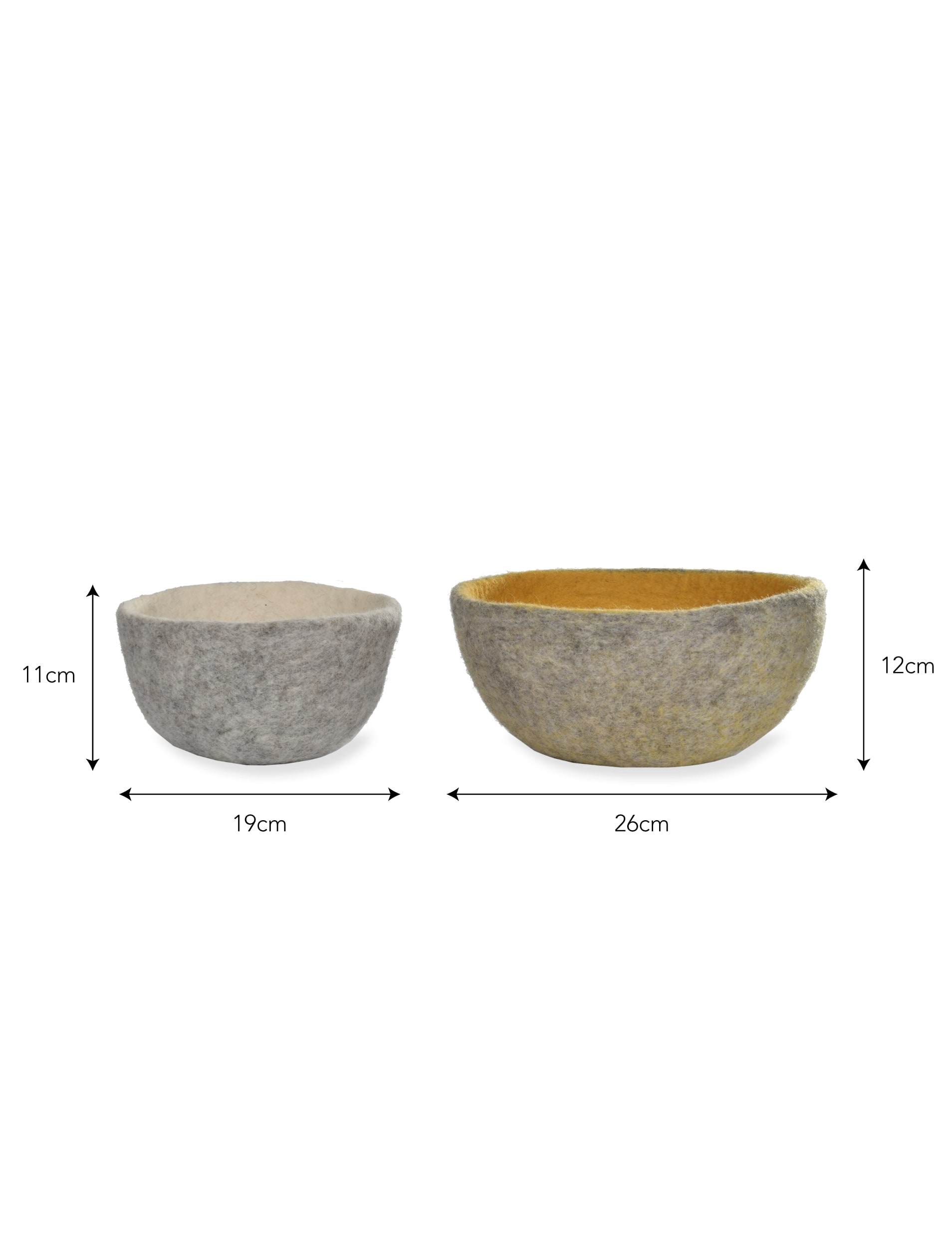 Fairtrade Felt Set of 2 Southwold Storage Bowls in Grey, Yellow and White | Garden Trading