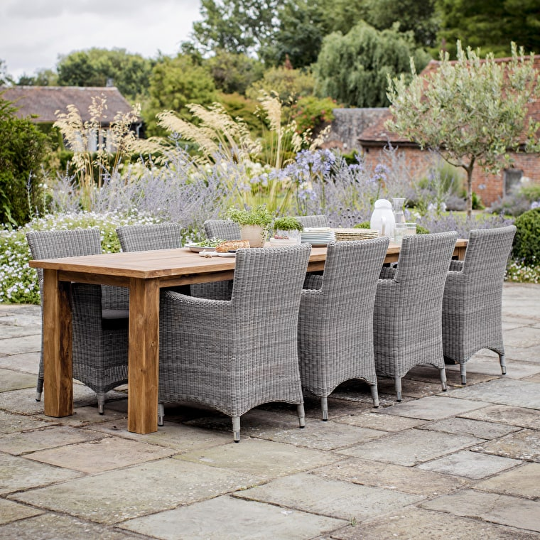 Teak St Mawes Outdoor Refectory Table, 10 Seater   Garden Trading