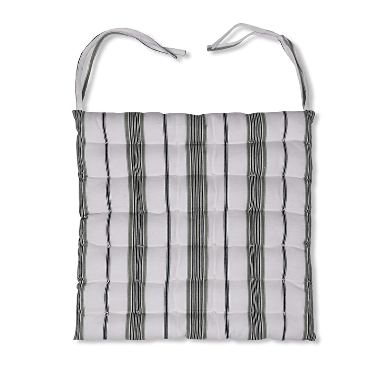 Cotton Seat Pad in Blue, Grey, Cream, Coral or Green Stripe   Garden Trading
