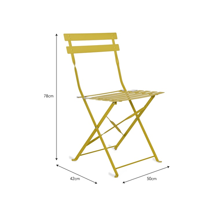 Set of 2 Bistro Chairs in Grey, Cream, Green, Blue, Black or Yellow | Garden Trading