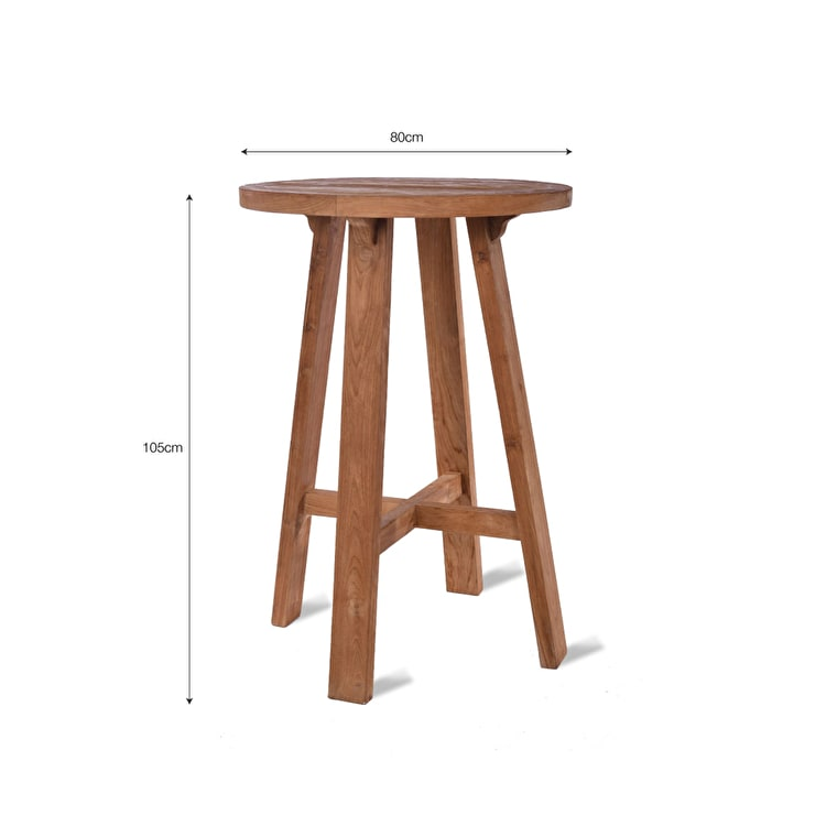 Teak St Mawes Round Outdoor  Bar Table | Garden Trading