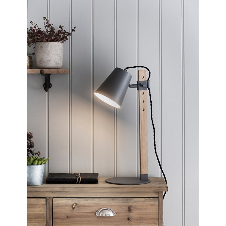 Metal and Oak Stockholm Table Light in Grey or Black | Garden Trading