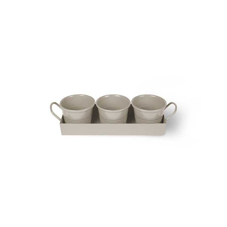 Steel Set of 3 Pots on a Tray in White or Cream | Garden Trading