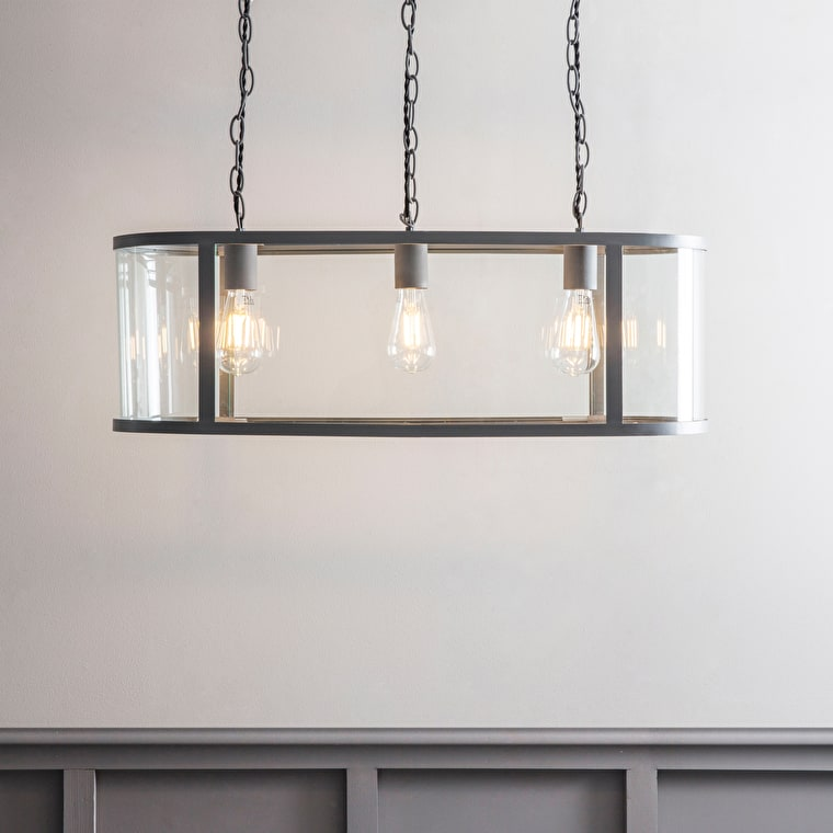 Cadogan Indoor 3 Pendant Light in Grey | Garden Trading