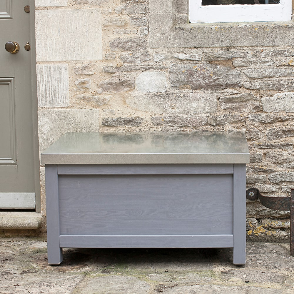 wooden northcote outdoor storage box in grey in small or large garden trading - Garden Storeage Boxes