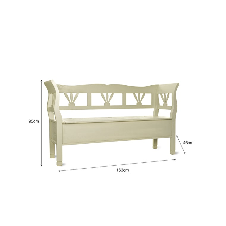 Wooden Hungarian Settle Bench in Cream in Small or Large | Garden Trading