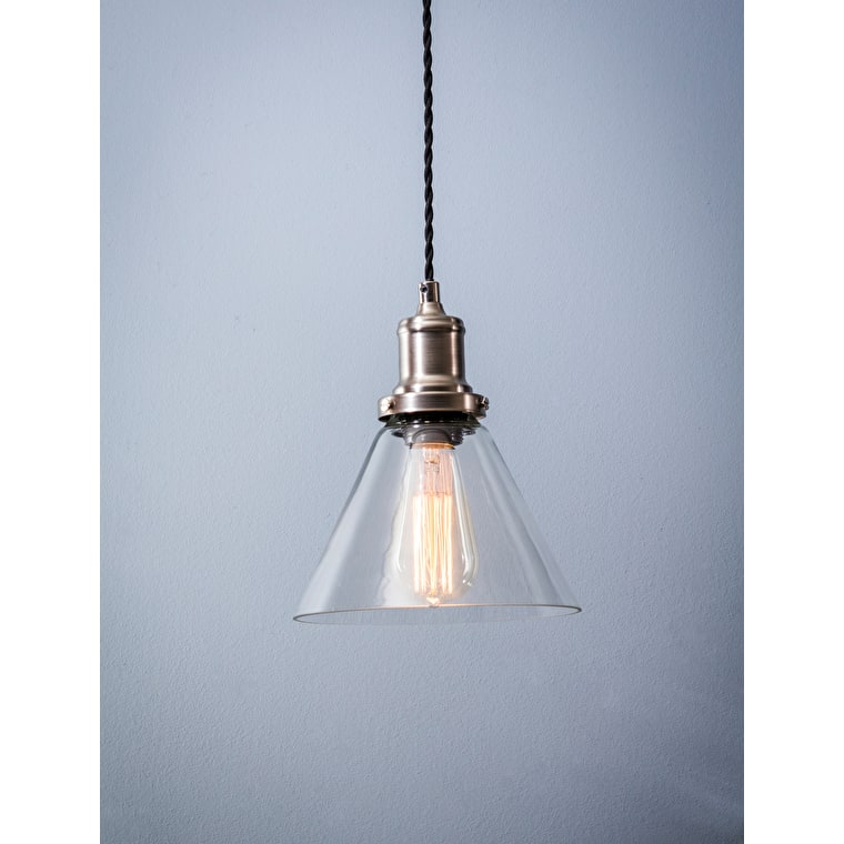 Hoxton Cone Indoor Pendant Light in Silver | Garden Trading