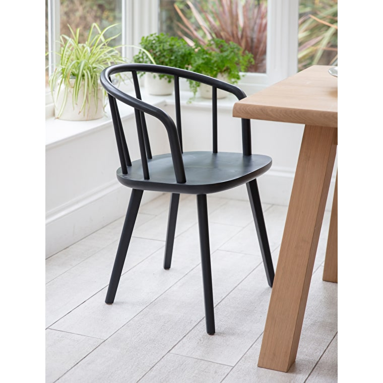 Wooden Carver Chair in Black | Garden Trading
