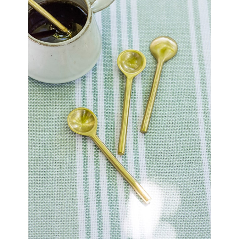 Brass Set of 4 Small Meze Spoons | Garden Trading