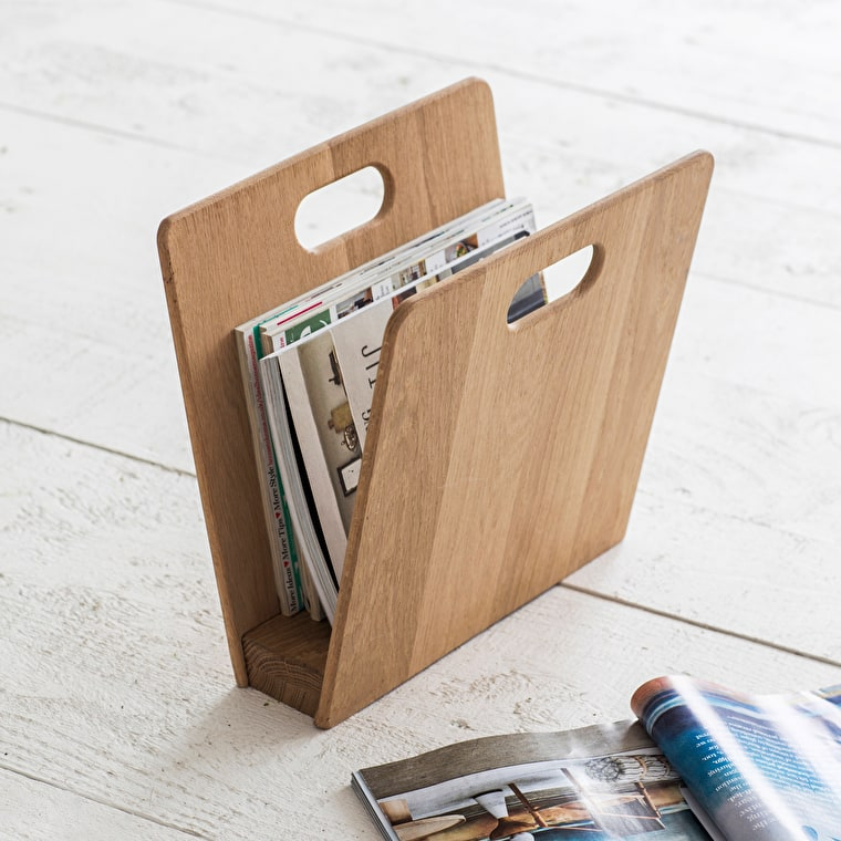 Raw Oak Woodstock Magazine Rack  | Garden Trading