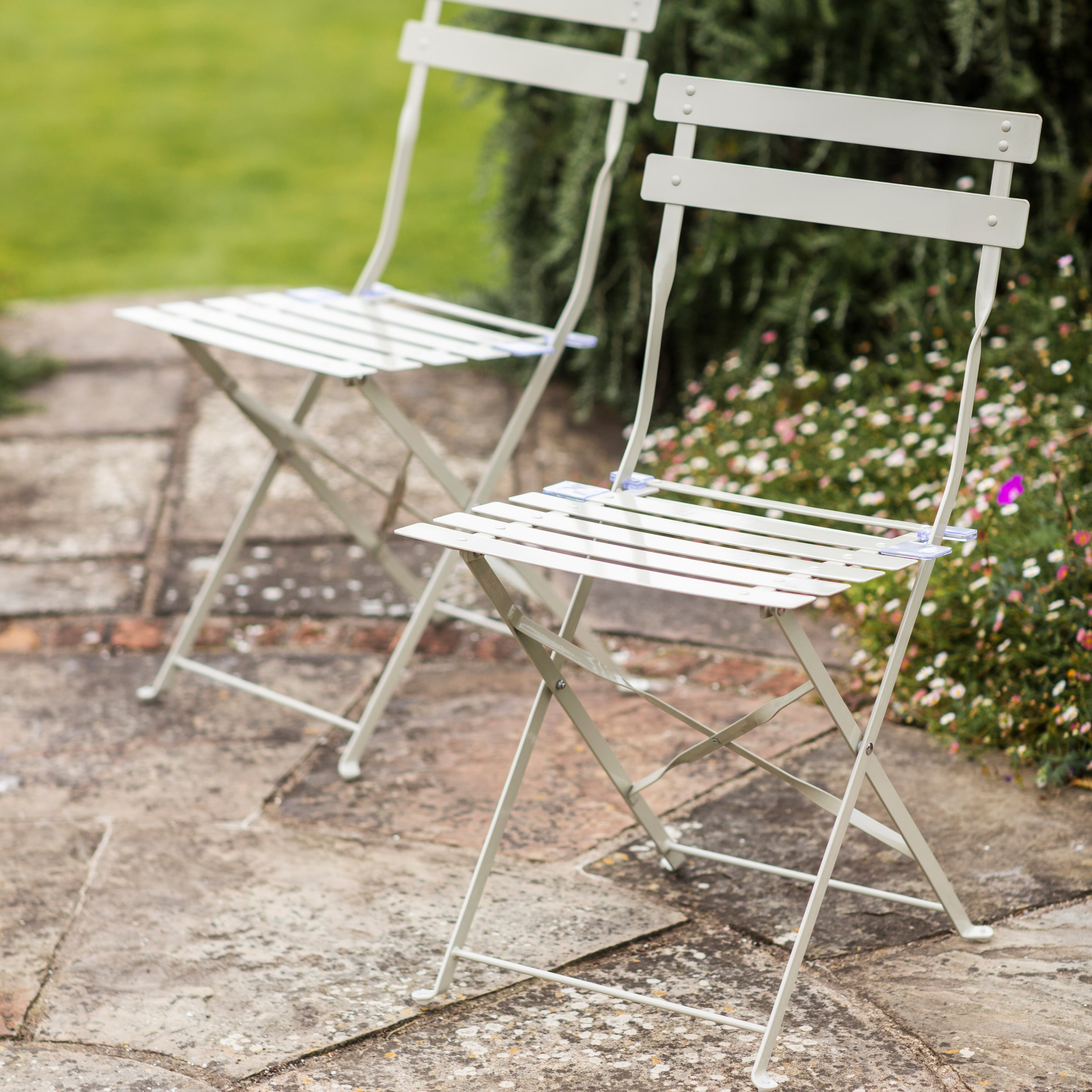 Set of 2 Bistro Chairs in Grey, Cream or Green | Garden Trading