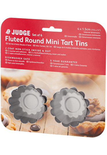 Judge Bakeware  Round Mini Fluted Flan Tin Set Non-Sti