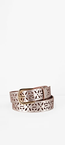 Beautiful metallic gold leather belt with laser cut starburst shapes with buckle fastening