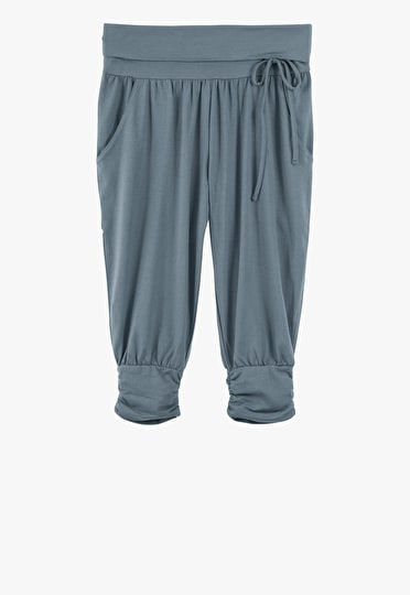 Harem trousers cropped just below the knee in slate blue