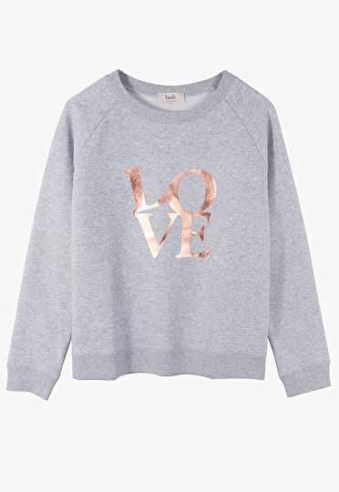 Cool sweat top with a cool 60s inspired 'love' motif in grey marl and metallic gold