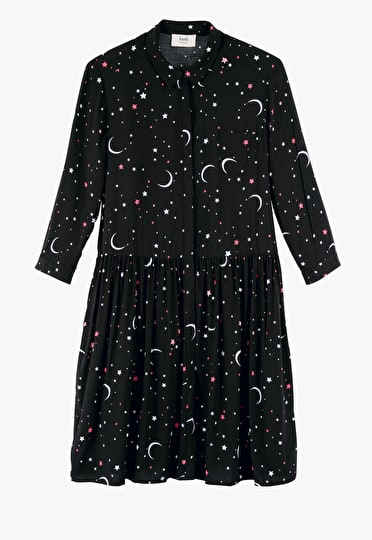 Cosmic inspired printed shirt dress with moons and stars with 3/4 length sleeves