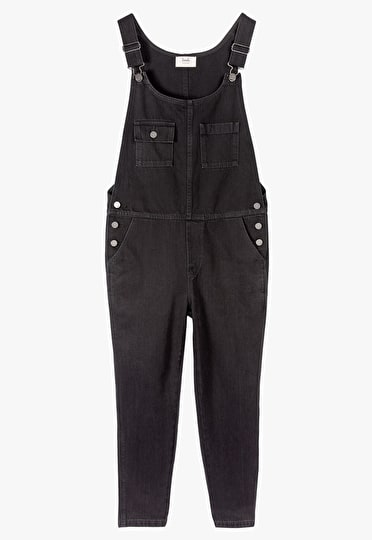 Semi relaxed fit dungarees cropped above the ankle in black denim