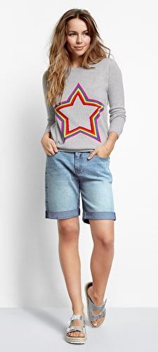 Star Embroidered Denim Shorts