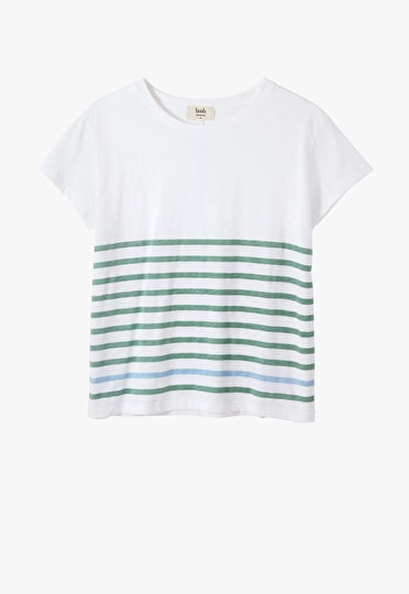 Oversized boxy tee with contrast stripes in white, granite green and placid blue