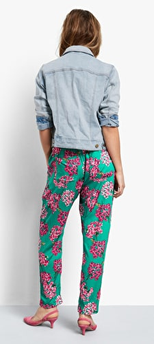Cropped Relaxed Printed Trousers