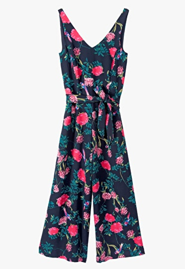 Jumpsuit with a detachable belt, wide leg trousers and a v neckline in an ornate midnight print