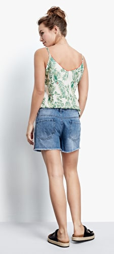 Frayed Edge Tape Denim Shorts