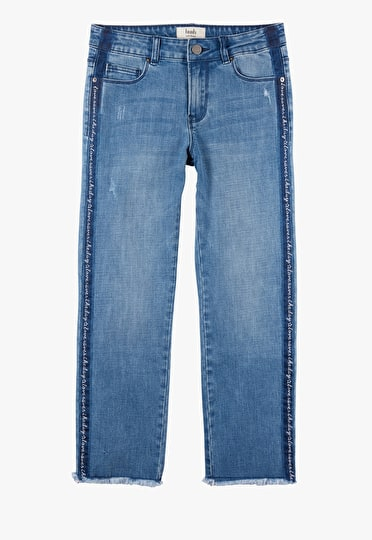 Denim jeans with 'love saves the day' embroidered down each leg