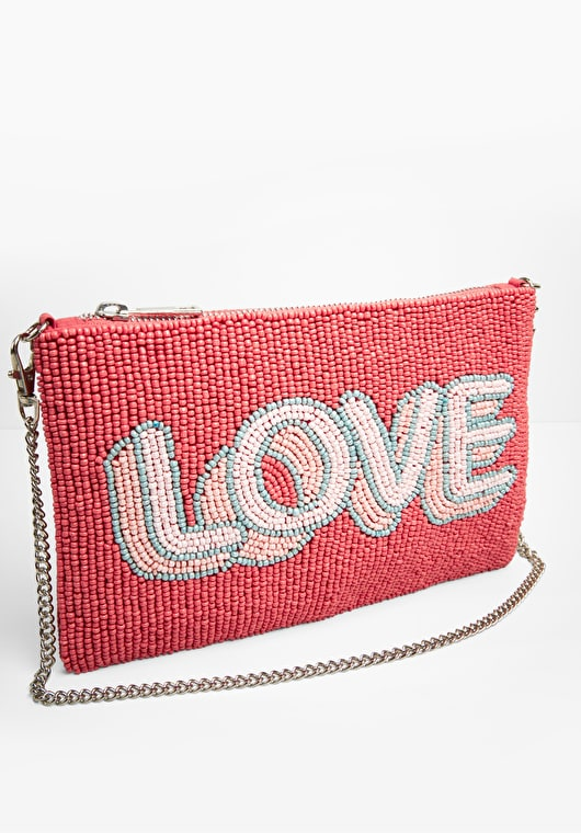Multi coloured pink hand beaded love slogan clutch with a detachable cross body chain
