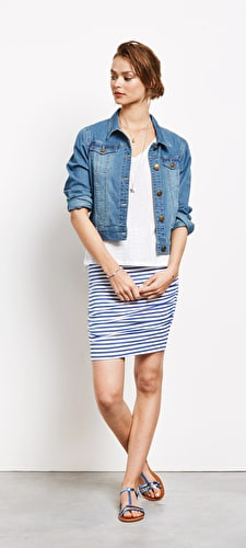 Striped Ruched Skirt